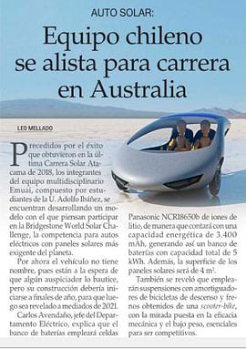 El Mercurio: Equipo chileno se alista para carrera en Australia